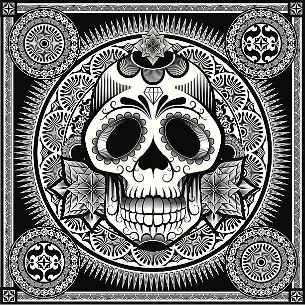 ilustraciones, imágenes clip art, dibujos animados e iconos de stock de mexicana azúcar cráneo - tatuajes tribales