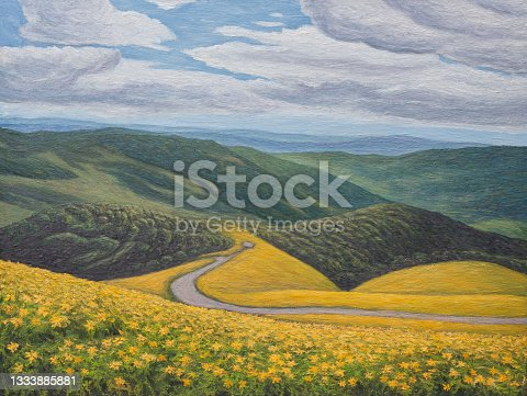 istock Mexican sunflowers on top of mountain, Thailand, original oil painting on canvas 1333885881
