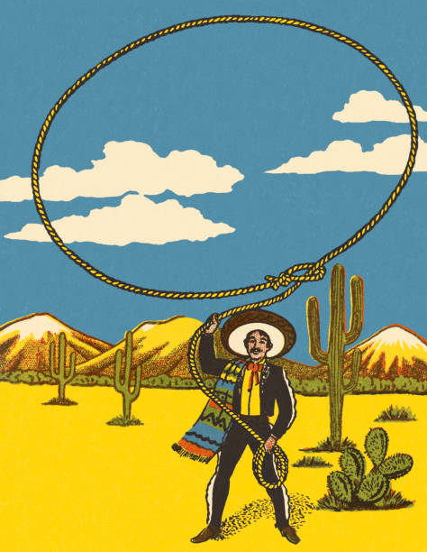 Mexican Throwing a Lasso Mexican Throwing a Lasso rancher illustrations stock illustrations