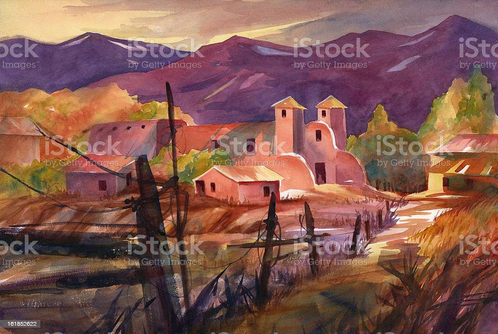Mexican Village vector art illustration