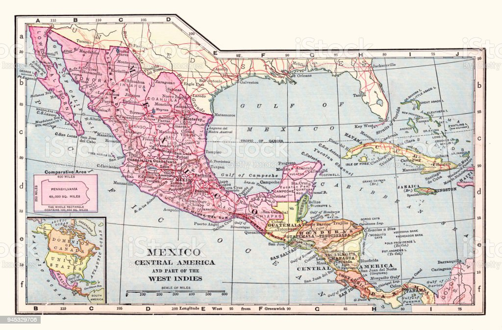 Mexico And Central America Map 1892 Stock Illustration ...