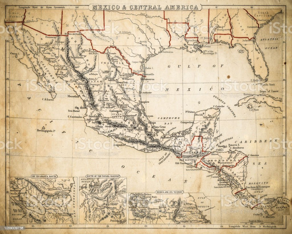 Mexico And Central America Map Of 1869 Stock Illustration - Download ...