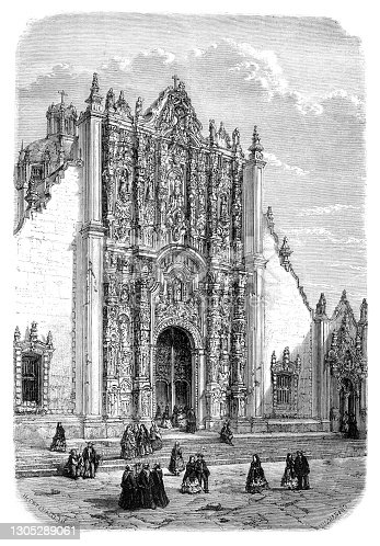 Cathedral of Mexico The Metropolitan Cathedral of the Assumption of the Most Blessed Virgin Mary into Heaven ( Spanish: Catedral Metropolitana de la Asunción de la Santísima Virgen María a los cielos ) in Downtown Mexico City. Consecrated 2 February 1656 Original edition from my own archives Source : Tour du monde 1862 Drawing : Catenacci after M.D. Charnay - Hildibrand