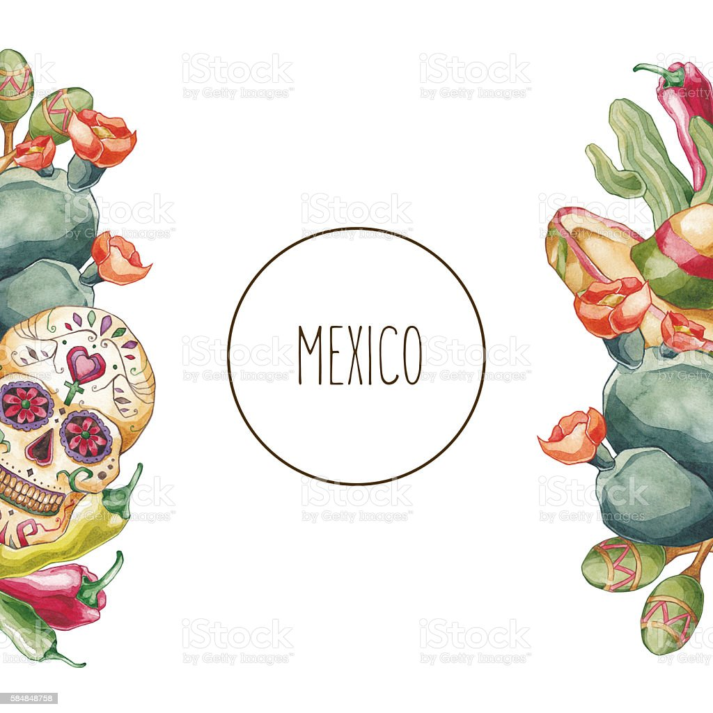 Mexico composition. vector art illustration