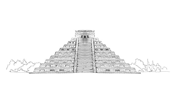 Mexico, Pyramid of Chicken Itza. Sketch collection famous building on the world