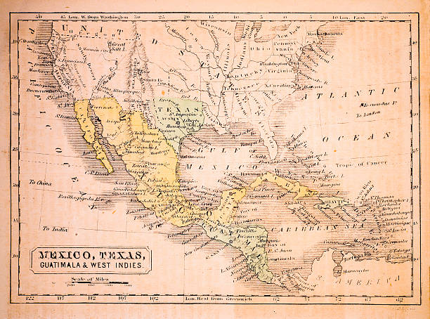 Mexico, Texas, Guatimala and West Indies 1852 Map Mexico, Texas, Guatimala and West Indies 1852 Map drawing of a haiti map stock illustrations
