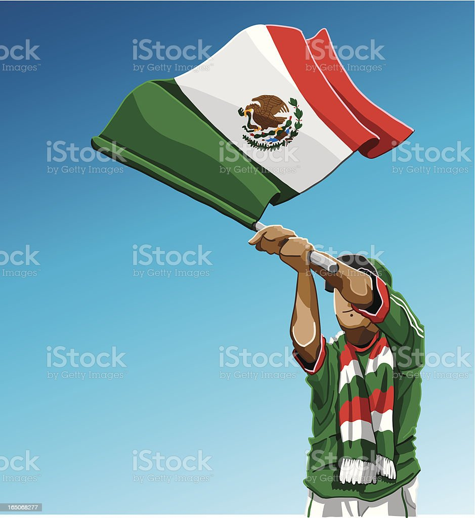 Mexico Waving Flag Soccer Fan royalty-free stock vector art