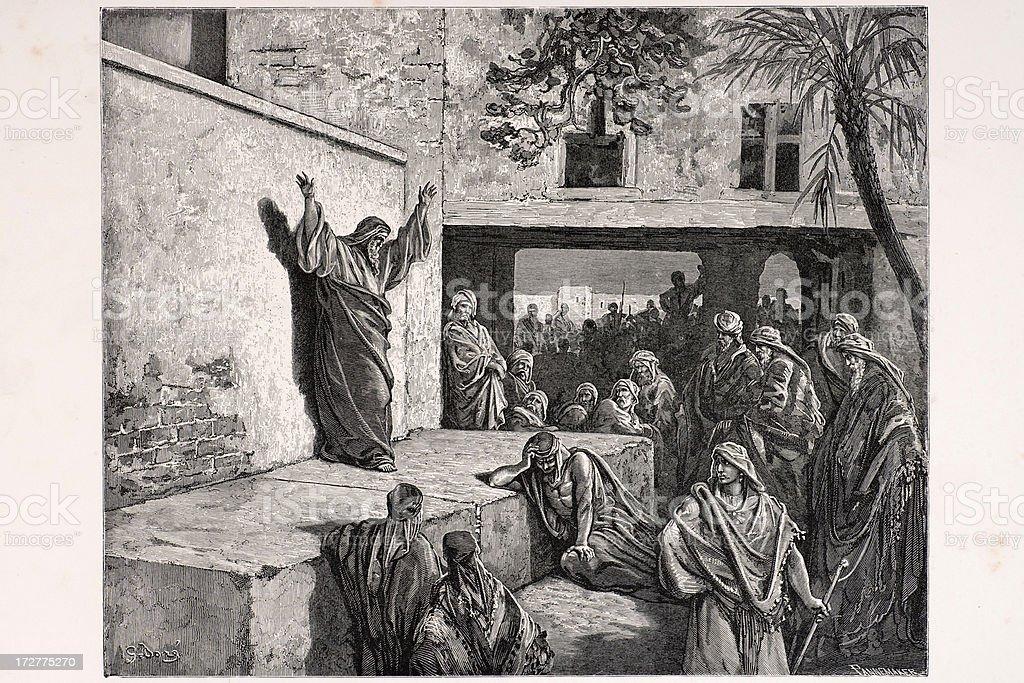 Micah exhorting the Israelites vector art illustration
