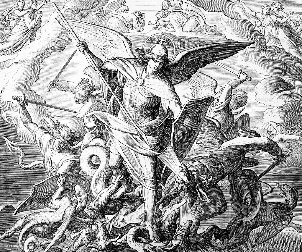 Michael y el dragón - ilustración de arte vectorial