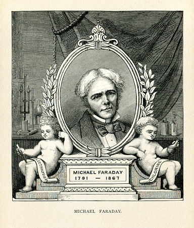 Michael Faraday ( 22 September 1791 – 25 August 1867 ) was an English scientist who contributed to the study of electromagnetism and electrochemistry. His main discoveries include the principles underlying electromagnetic induction, diamagnetism and electrolysis. Original edition from my own archives Source :