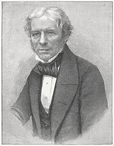 Michael Faraday (1791 – 1867) was an English scientist who contributed to the fields of electromagnetism and electrochemistry. His main discoveries include those of electromagnetic induction, diamagnetism and electrolysis. Engraving after a photograph, published in 1882.