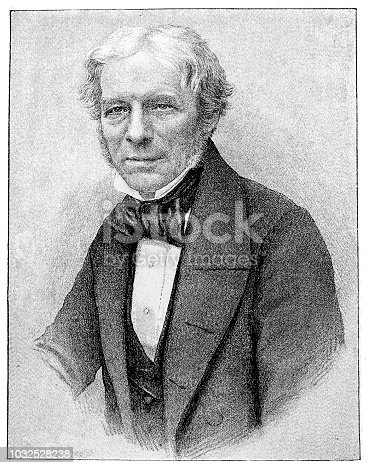 Illustration of a Michael Faraday (22 September 1791 – 25 August 1867) was a British scientist who contributed to the study of electromagnetism and electrochemistry