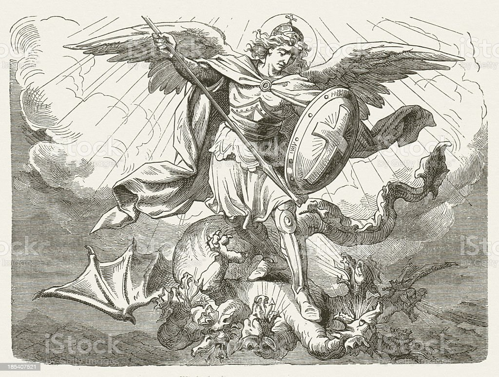 Michael's battle with the dragon (Revelation 12, 7) vector art illustration