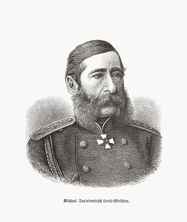 Michail Tarielowitsch Loris-Melikow (1824-1888), Russian-Armenian satesman, wood engraving, published 1893