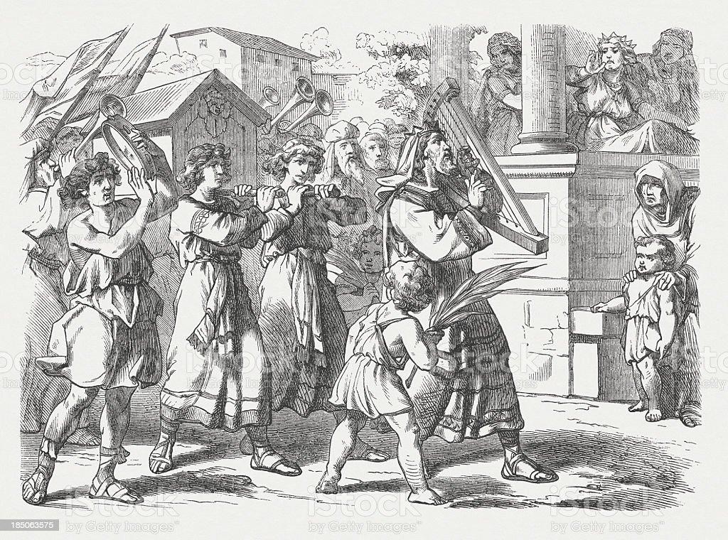 Michal mocked David (2 Samuel 6), wood engraving, published 1877 vector art illustration