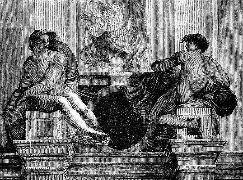 Michelangelo's Naked Men royalty-free stock vector art