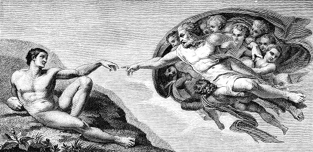 Michelangelo's The Creation of Man from the ceiling of the Sistine Chapel A drawing of Michelangelo's The Creation of Man from the ceiling of the Sistine Chapel at the Vatican, Rome, Italy, from a Victorian book dated 1879 that is no longer in copyright origins stock illustrations