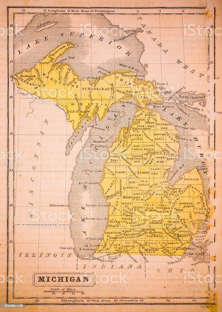 Michigan 1852 Map vector art illustration