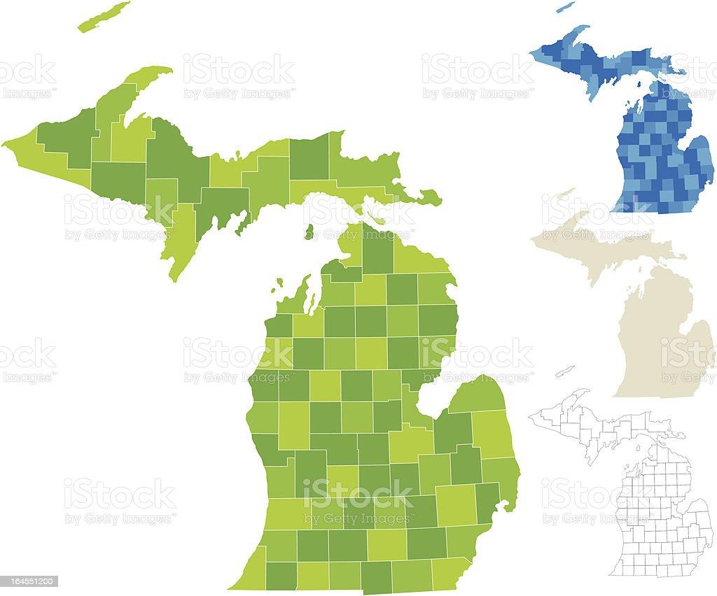 Michigan County Map Stock Vector Art IStock - Michigan county map