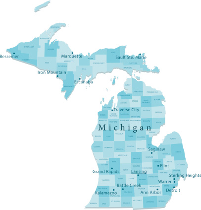 Michigan Vector Map Regions Isolated