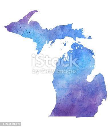 Michigan Watercolor Raster Map Illustration