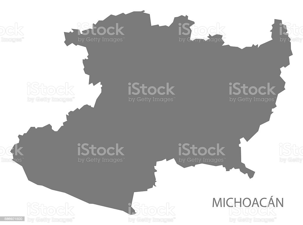 Michoacan Mexico Map Grey Stock Vector Art More Images Of Computer