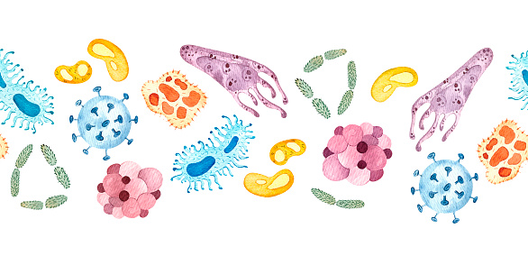 Microbes Watercolor Set Stock Illustration - Download Image Now