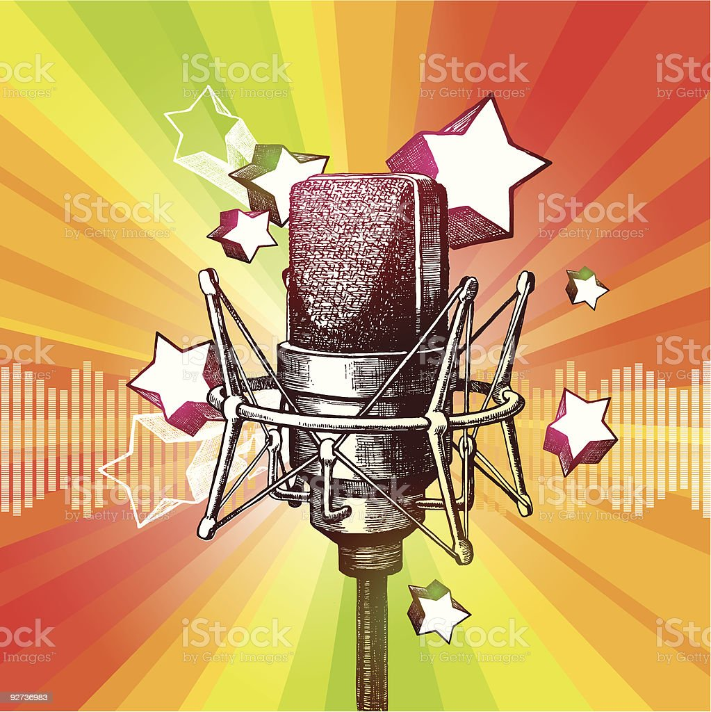 Microphone and stars - Royalty-free Art stock vector