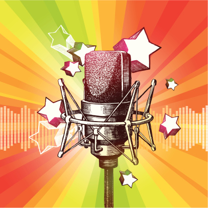 Microphone And Stars Stock Illustration - Download Image Now