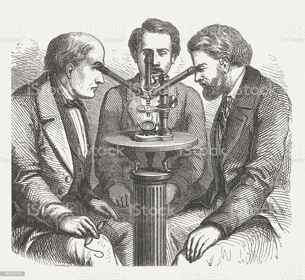 Microscope for three users, wood engraving, published in 1877 royalty-free stock vector art