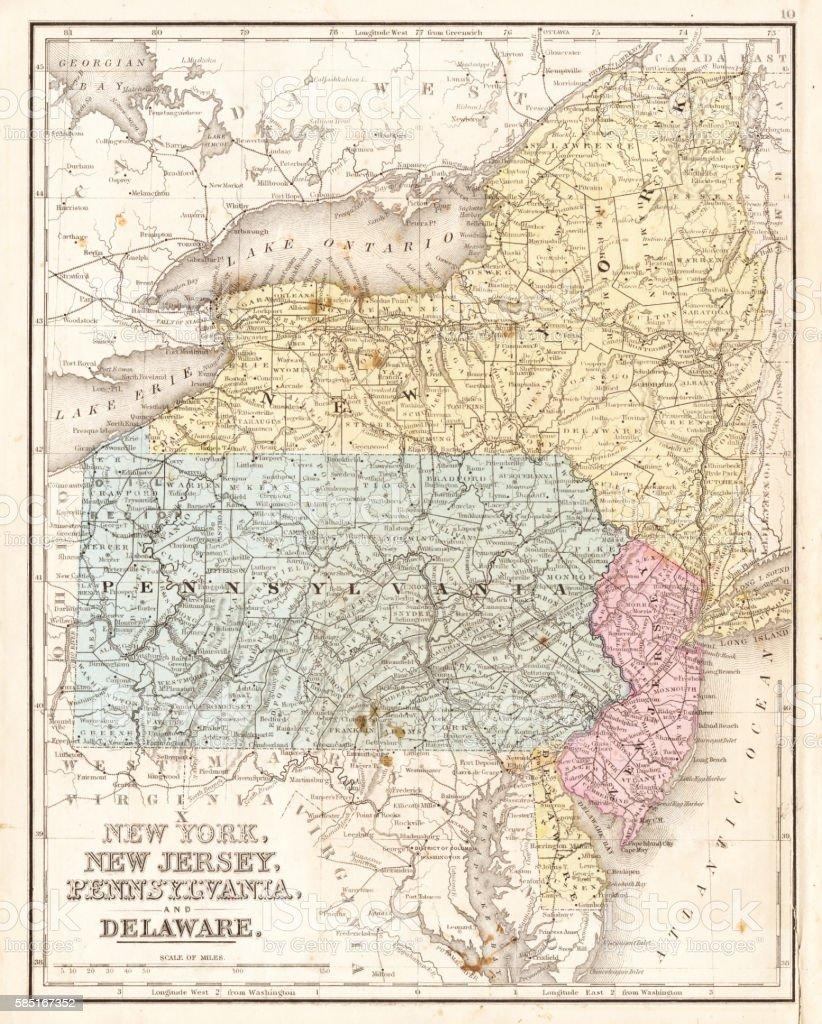 Midatlantic States Usa Map Stock Vector Art IStock - Us map 1867