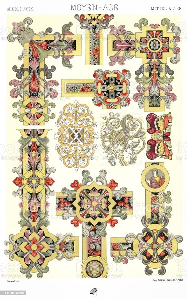Middle Age: Ornamentation Of Manuscripts, Frames And Flowers vector art illustration