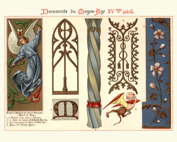 Middle ages decorative art, Angel, Floral, Architectural details vector art illustration