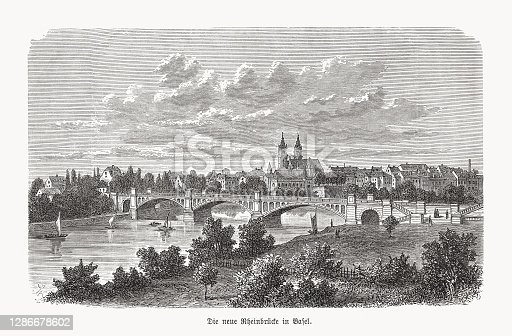istock Middle Bridge in Basel, Switzerland, wood engraving, published in 1893 1286678602