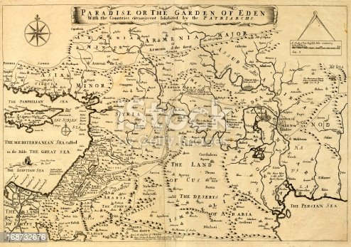 This may appear to be a straightforward map of the Middle East. However, closer inspection will reveal some extraordinary details, a number of descriptions on the map refer to stories from the Bible.