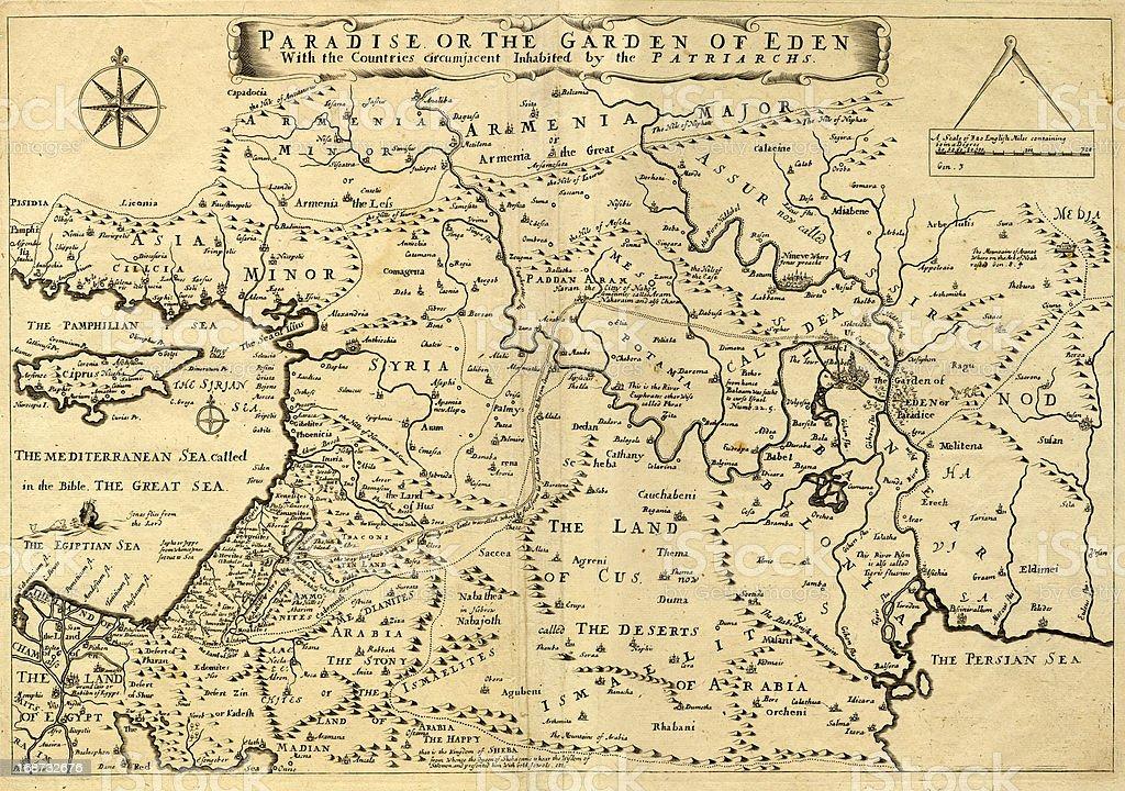 Antiguo Mapa de Oriente Medio, Garden of Eden, 1.675 - ilustración de arte vectorial