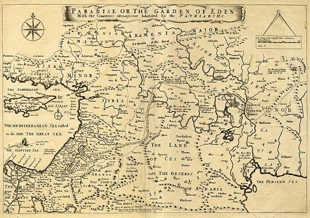 ilustraciones, imágenes clip art, dibujos animados e iconos de stock de antiguo mapa de oriente medio, garden of eden, 1.675 - mapa de oriente medio