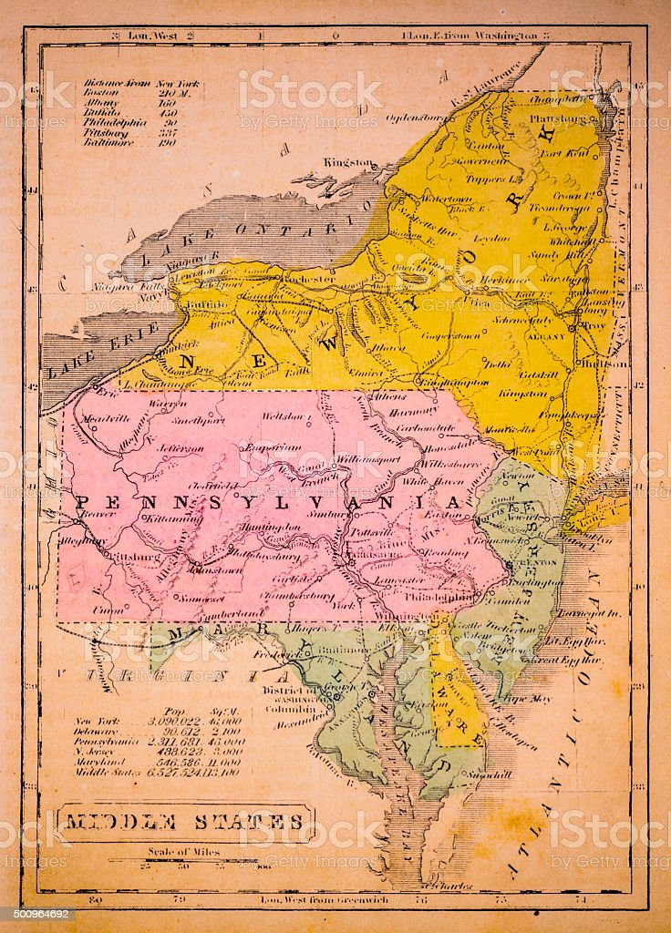 Middle States 1852 Map vector art illustration