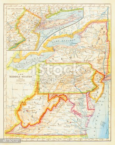 1883 Middle States Map