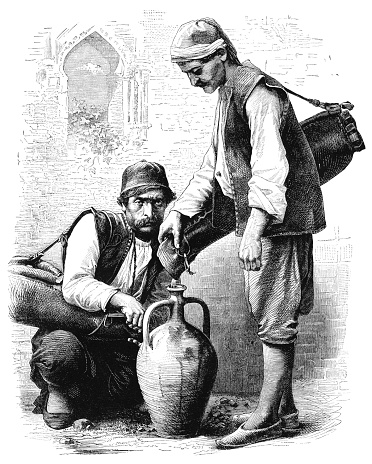 Middle-Eastern water-carriers - Victorian engraving