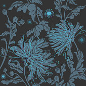 Vector illustration of a chrysanthemum seamless floral pattern. High resolution jpg file included. Pattern also included in swatch for easy application.