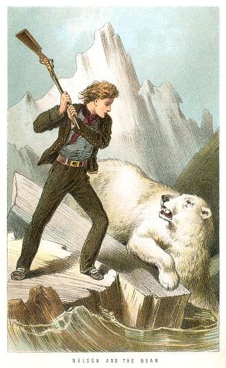 Midshipman Horatio Nelson fighting a polar bear on a Polar expedition