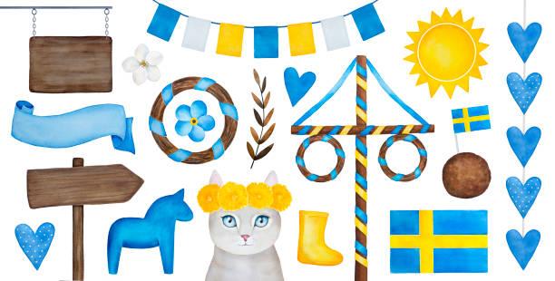bildbanksillustrationer, clip art samt tecknat material och ikoner med midsommar semester firande samling av olika traditionella element, tecken, prydnadsföremål, sparv och dekorationer för design. - summer sweden