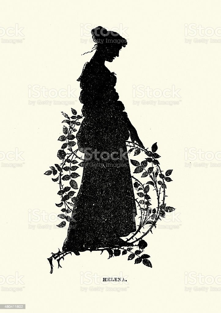 Midsummer Night's Dream - Silhouette of Helena vector art illustration
