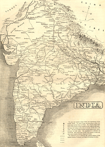 """A mid-Victorian map of the Indian subcontinent at the time of the British Empire, showing various missionary society stations. From """"The Cottager and Artisan"""" illustrated by various artists and published by The Religious Tract Society, London, in 1876."""