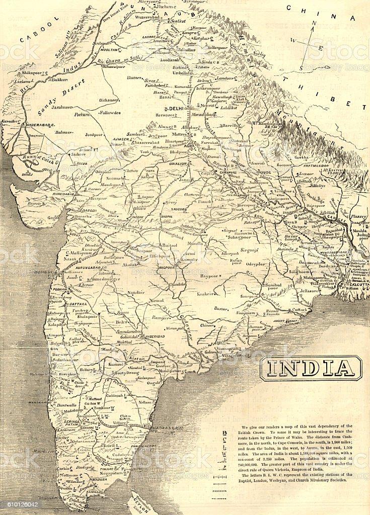 Mid-Victorian map of India vector art illustration