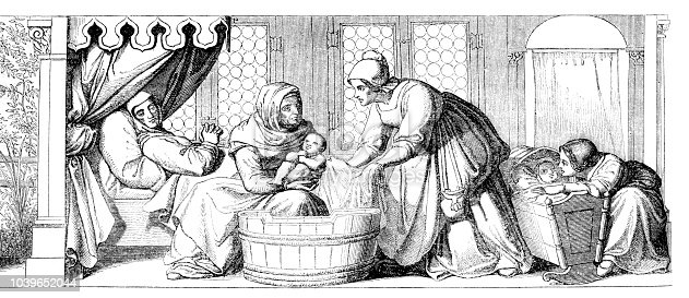 Steel engraving of Midwife bathing newborn after birth in medieval after painting of Bendemann in Dresden Original edition from my own archives Drawing : J.Gagniet- Graveur : Bertrand Source : Tour du Monde 1851