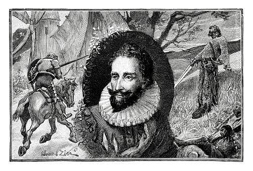Miguel de Cervantes - Antique Engraved Design