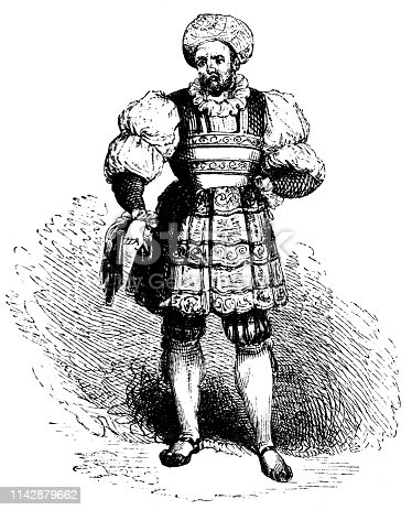 Typical clothing of a man from Milan (circa 16th century) from the Works of William Shakespeare. Vintage etching circa mid 19th century.