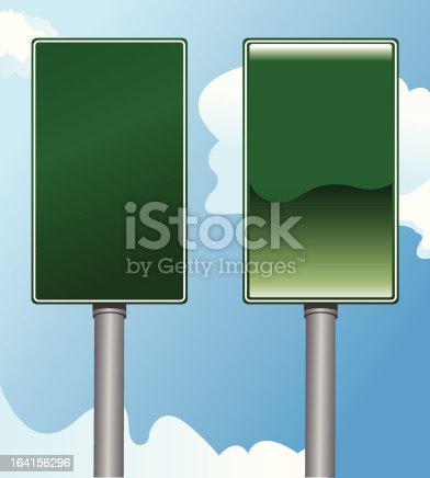 Two vector versions of Mile Marker signs you would see on the highway.